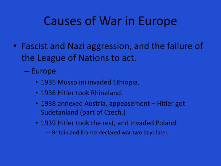 causes of war The agricultural economy was certainly one cause of the civil war, but not the only one wars are never simple and neither are their causes.