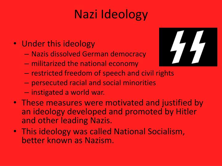 explain why the nazi ideology was Explain the nazi ideology of racial purity - 4263593 hitler believed in the cleansing of human races he sought to create an anglo.