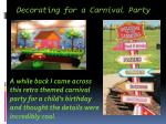 decorating for a carnival party