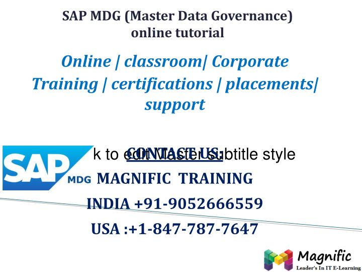 sap mdg master data governance online tutorial n.