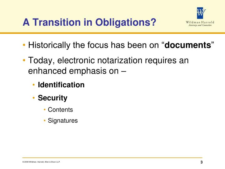 A transition in obligations