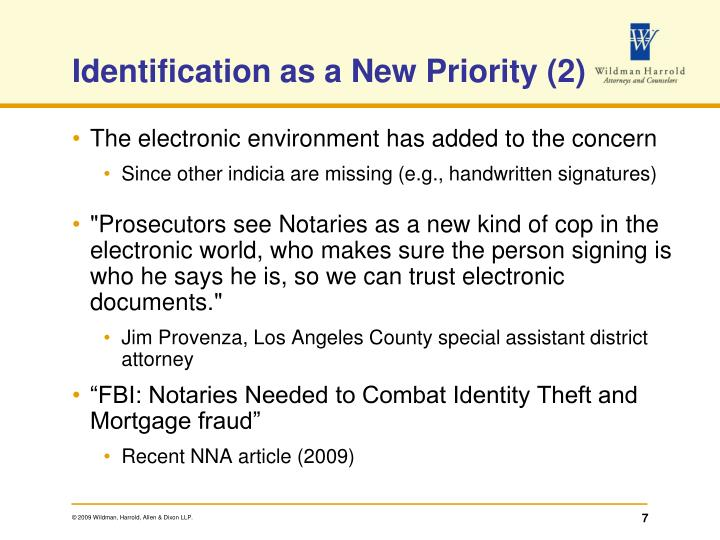 Identification as a New Priority (2)