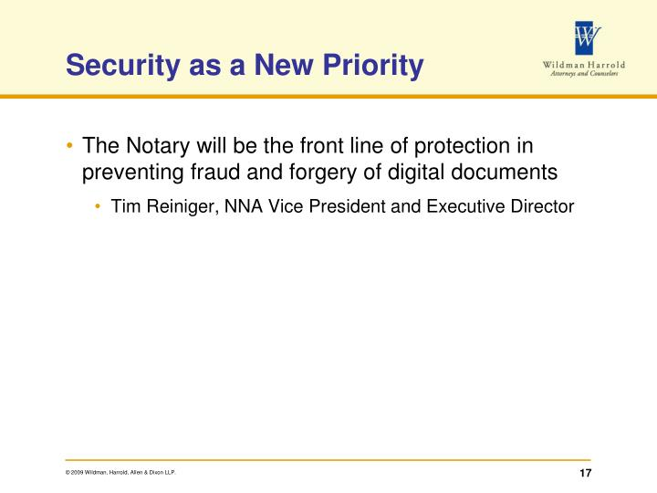 Security as a New Priority