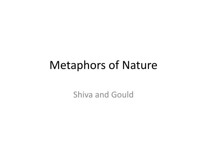 metaphors of nature n.
