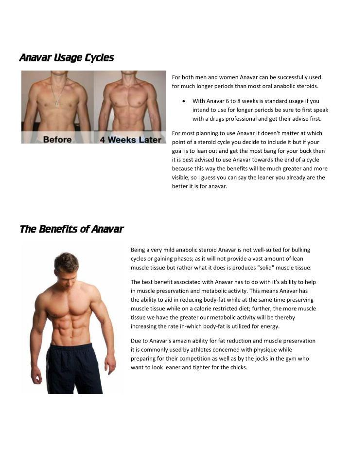 Anavar Usage Cycles