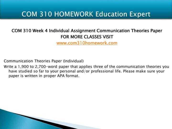 com 310 communication theories paper