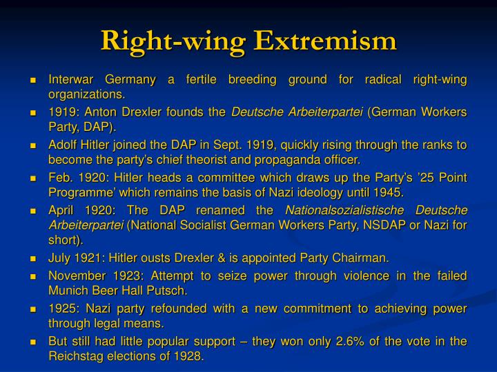 right wing extremism facharbeit Across much of europe, the us and australia, we have seen a lurch to the right-wing, conservative side of politics, as griffith university's professor of.