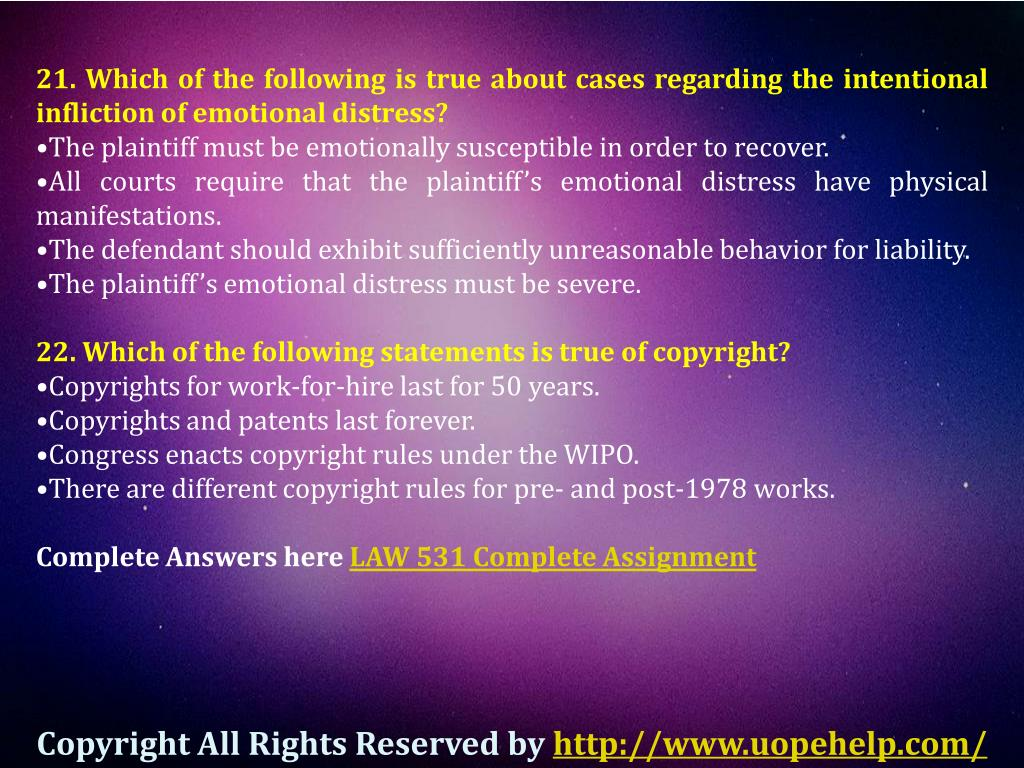PPT - UOP Business Law 531 Final - Exam Question Answers