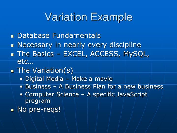 Variation Example