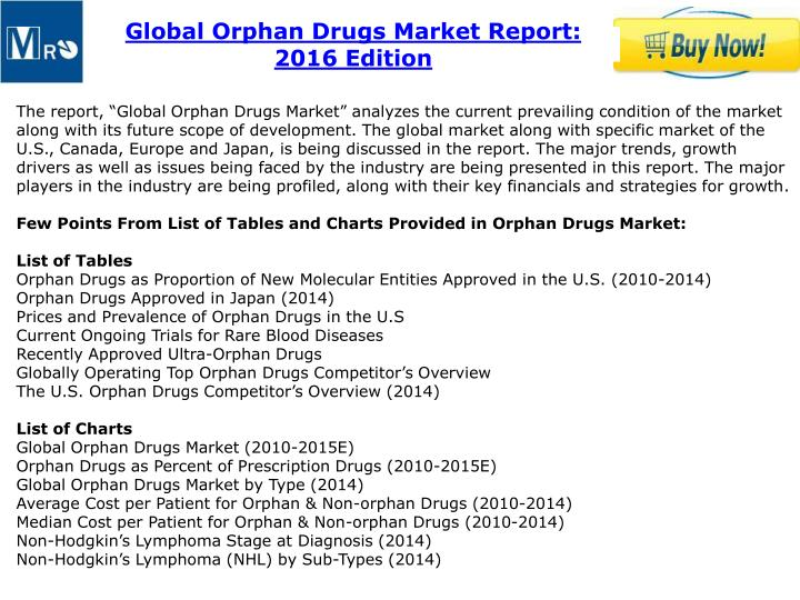 Global Orphan Drugs Market Report: 2016 Edition