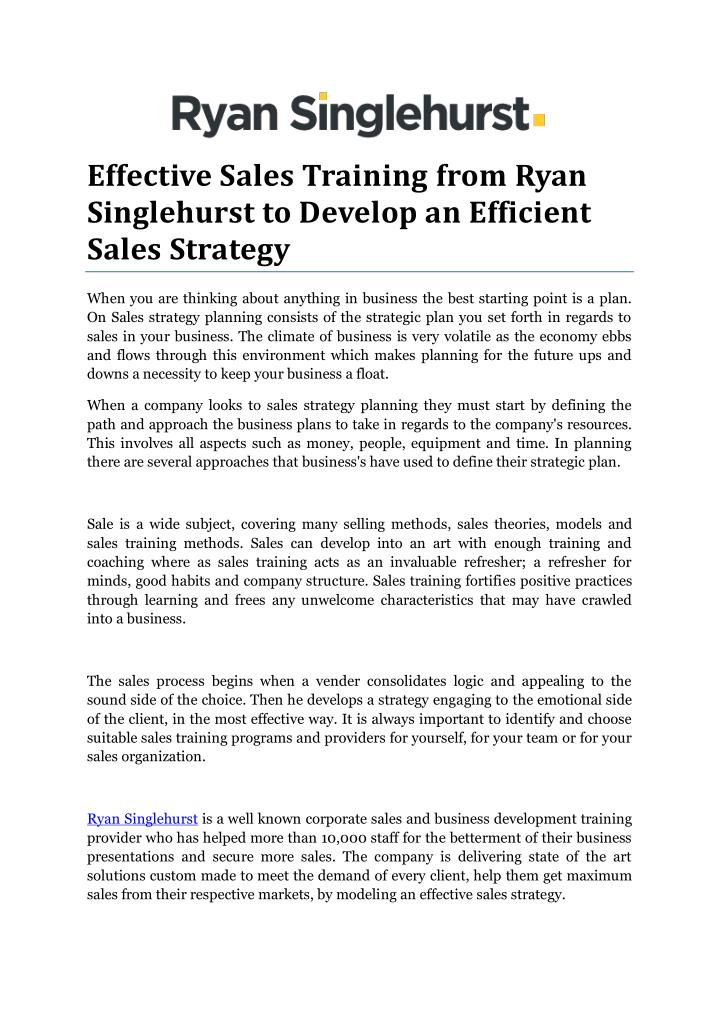 Effective Sales Training from Ryan