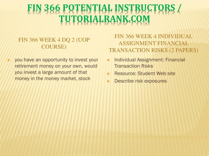 FIN 366 Week 4 DQ 2 (UOP Course)