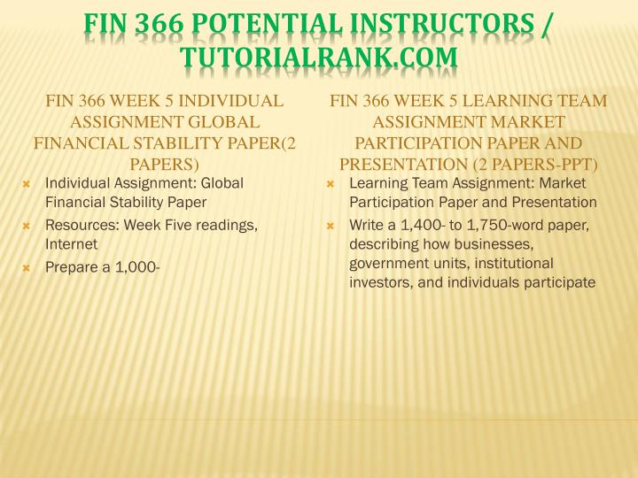 FIN 366 Week 5 Individual Assignment Global Financial Stability Paper(2 Papers)