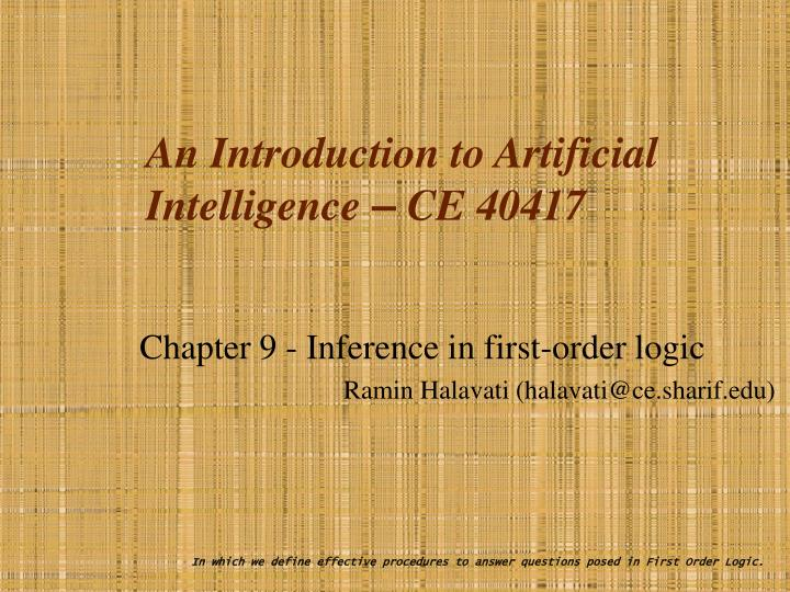 an introduction to artificial intelligence ce 40417 n.
