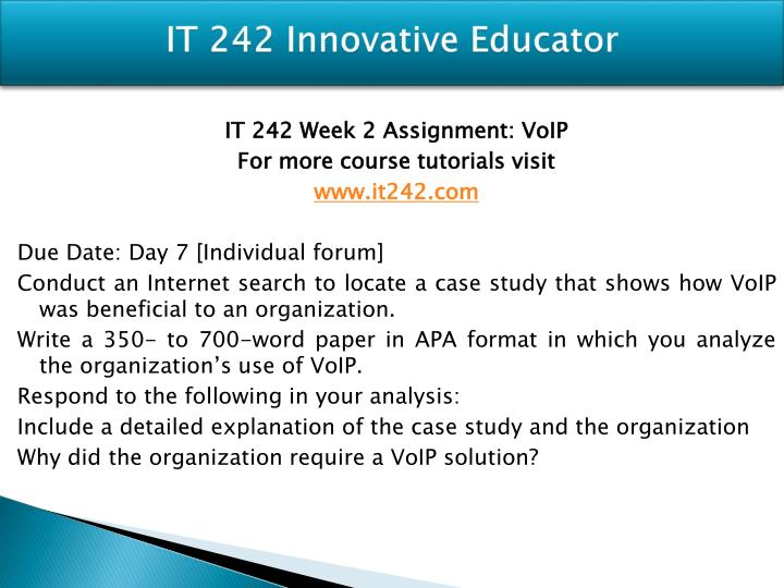 it242 voip assignment
