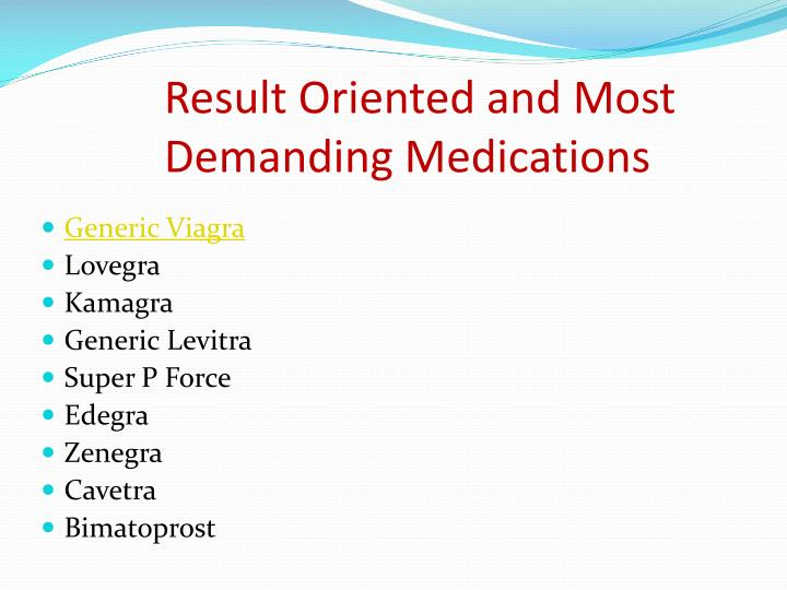 Result Oriented and Most Demanding Medications