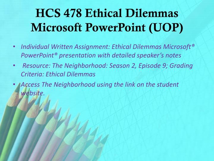 hcs 478 ethical dilemma allen household