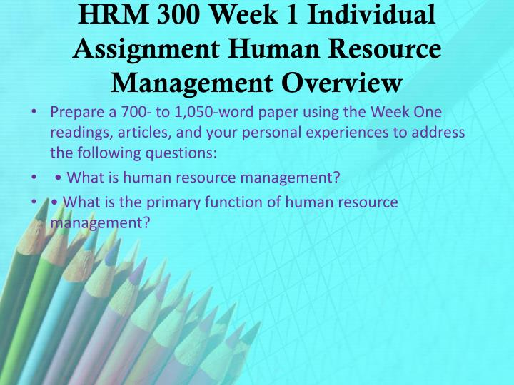 HRM 300 Week 1 Individual Assignment Human Resource Management Overview