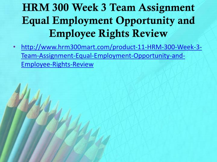 HRM 300 Week 3 Team Assignment Equal Employment Opportunity and Employee Rights Review