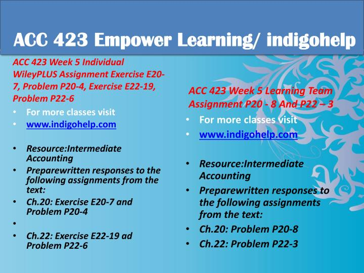 acc 423 week 5 wileyplus assignment