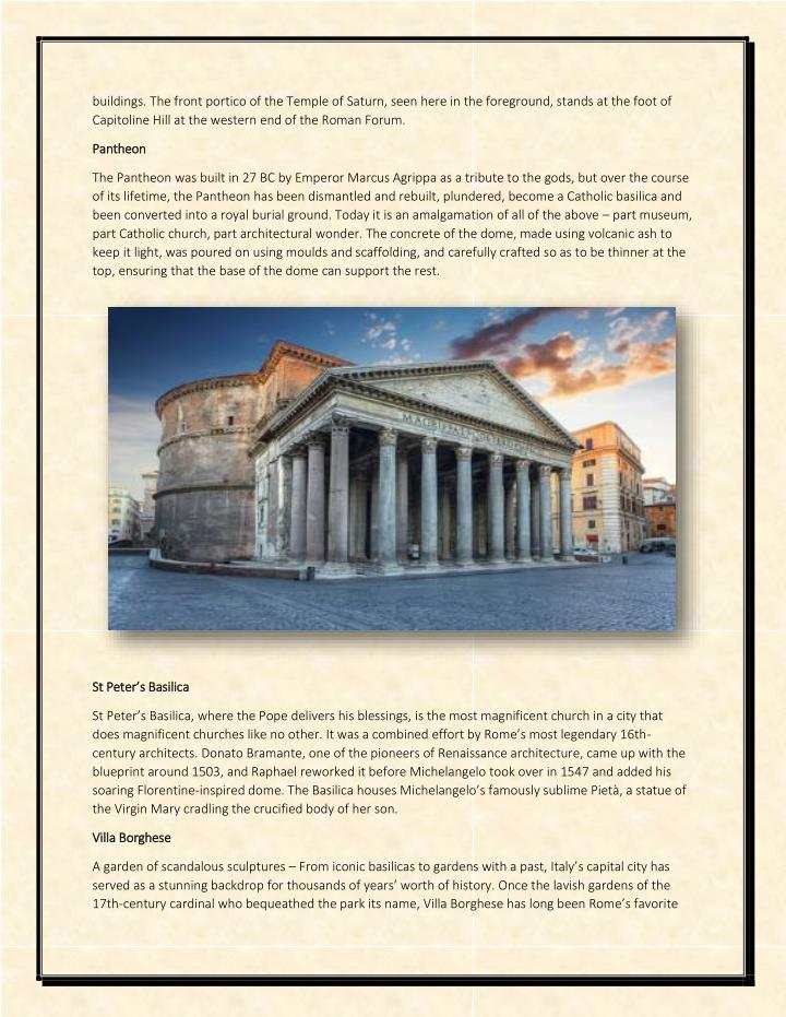 Buildings. The front portico of the Temple of Saturn, seen here in the foreground, stands at the foo...