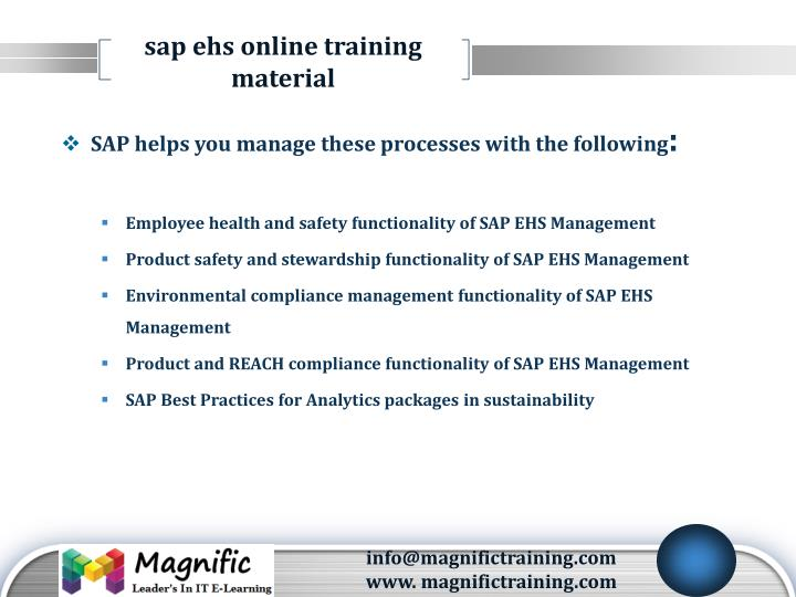 Sap ehs online training  material