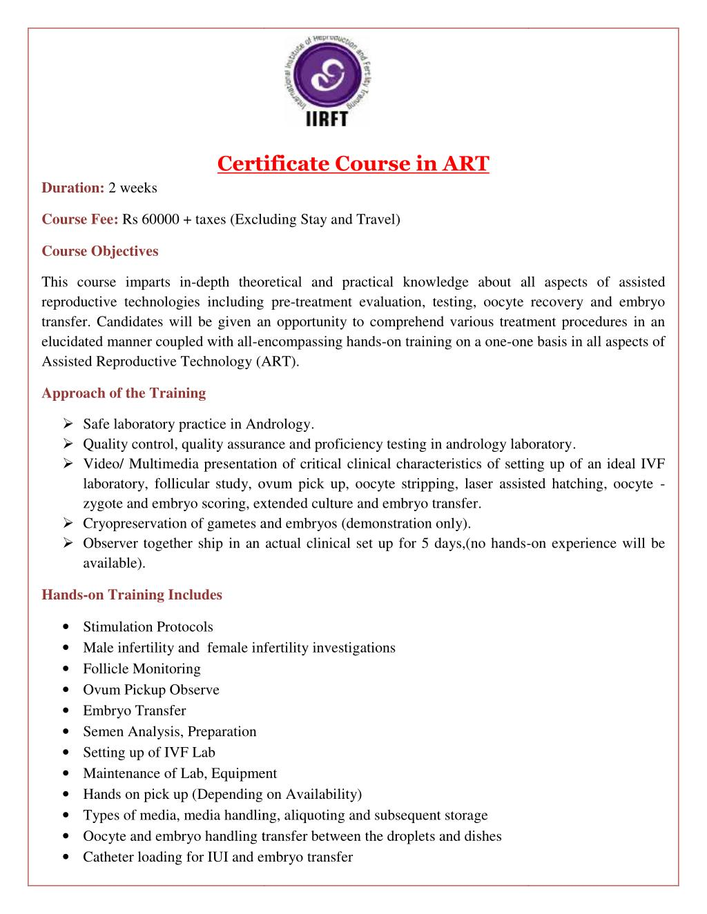 Ppt Certificate Course In Art Hands On Ivf And Icsi Training
