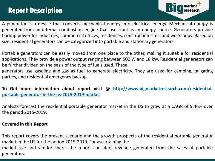 residential portable generator market size