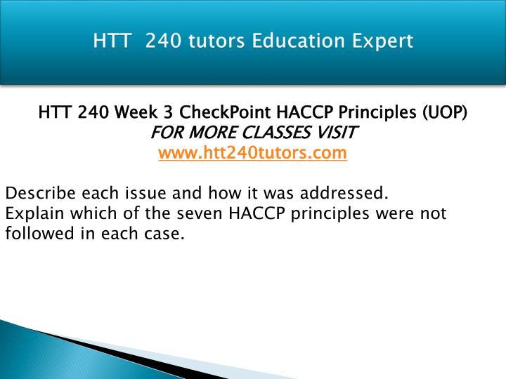 HTT  240 tutors Education Expert