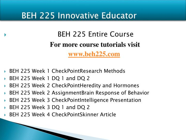 beh 225 week 5 intrinsic an Week 1 beh 225 week 1 checkpoint research methods resources: pp 24–35 in ch 1 of understanding psychology appendix b complete appendix b see materials forum chp 1-3 must be read to complete this.