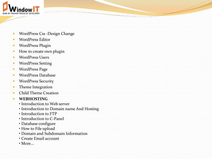 WordPress Css -Design Change