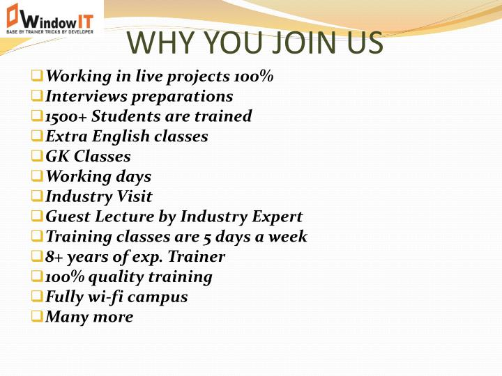 WHY YOU JOIN US