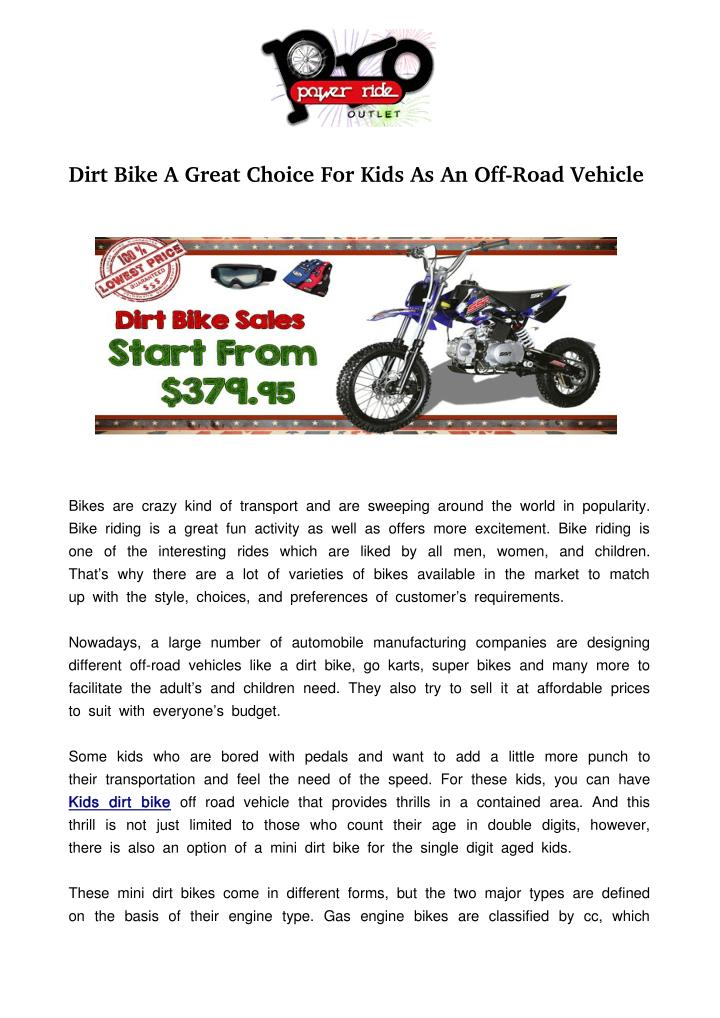 Ppt Dirt Bike A Great Choice For Kids As An Off Road