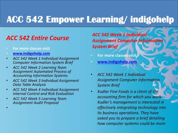 Acc 542 educational tutor indigohelp