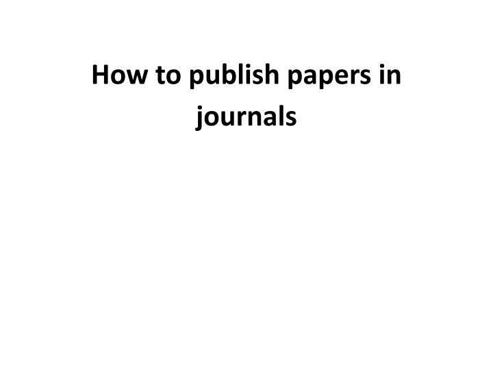 how to publish papers in journals n.