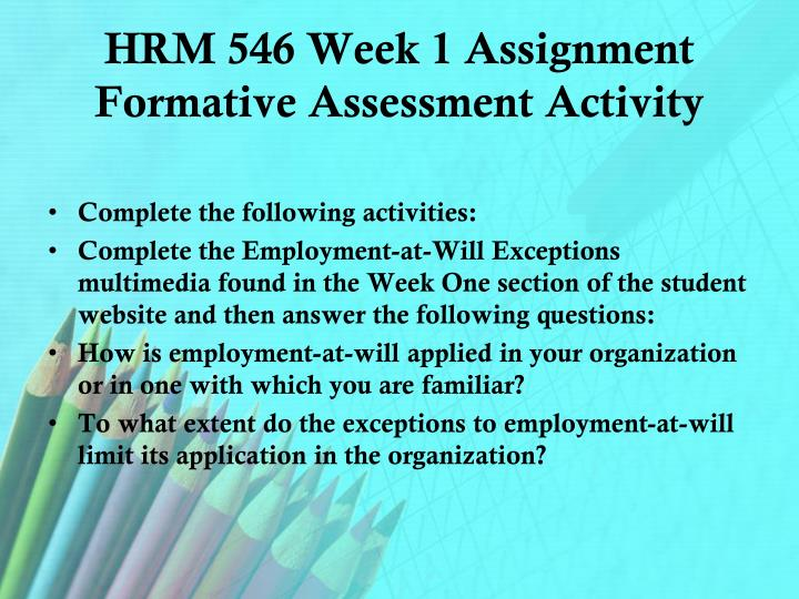 Hrm 546 week 1 assignment formative assessment activity