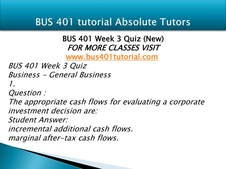 bus 401 week 3 quiz version