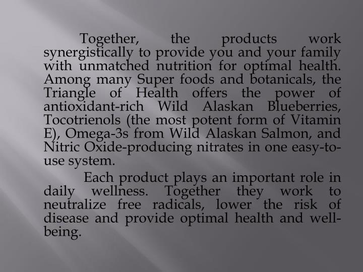 Together, the products work synergistically to provide you and your family with unmatched nutrition for optimal health. Among many Super foods and botanicals, the Triangle of Health offers the power of antioxidant-rich Wild Alaskan Blueberries, Tocotrienols (the most potent form of Vitamin E), Omega-3s from Wild Alaskan Salmon, and Nitric Oxide-producing nitrates in one easy-to-use system.