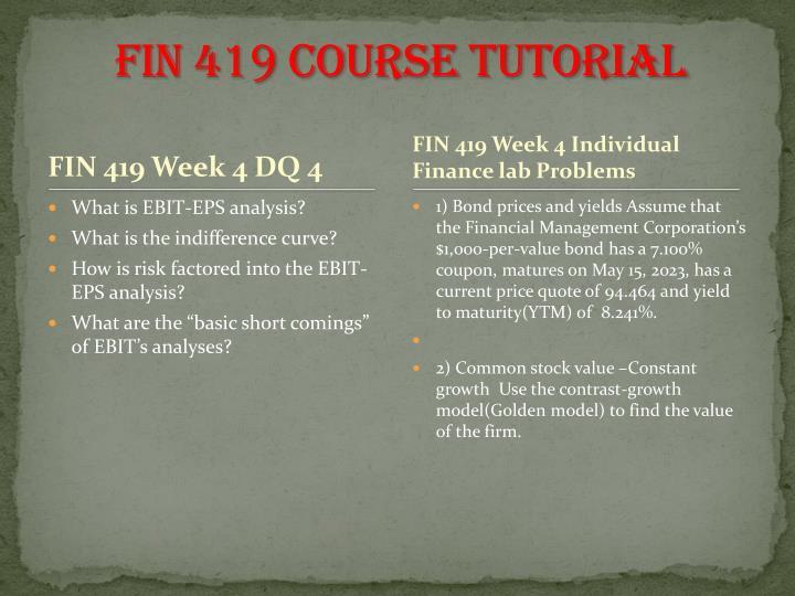 FIN 419 Course Tutorial
