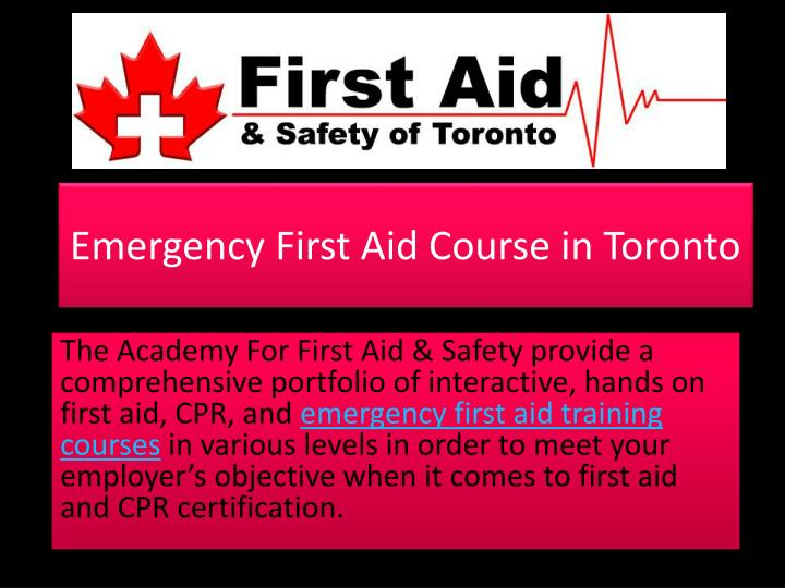 emergency first aid course in toronto n.