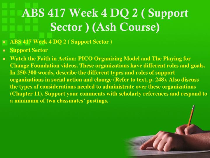 ABS 417 Week 4 DQ 2 ( Support Sector ) (Ash Course)