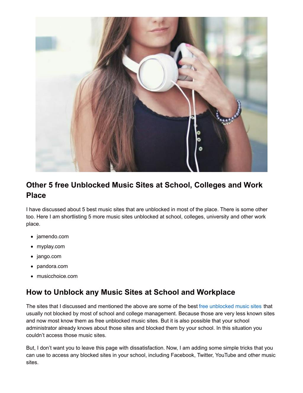music sites unblocked for school