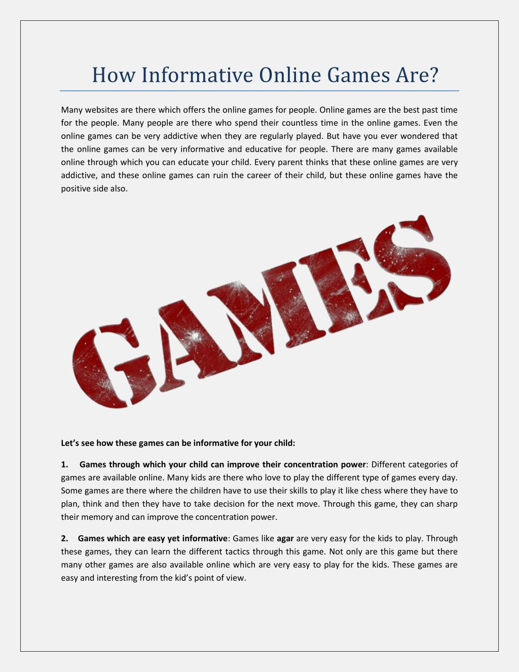 Ppt How Informative Online Games Are Powerpoint Presentation Free Download Id 7300177