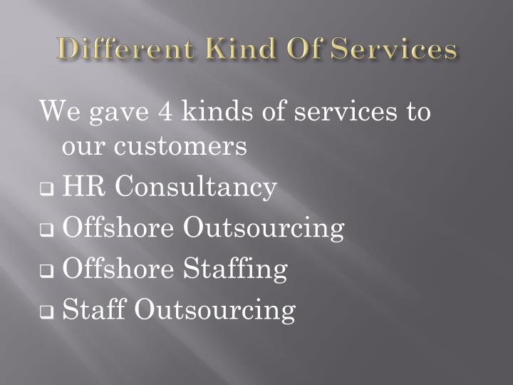 Different Kind Of Services