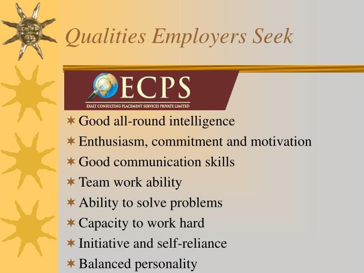 Qualities Employers Seek