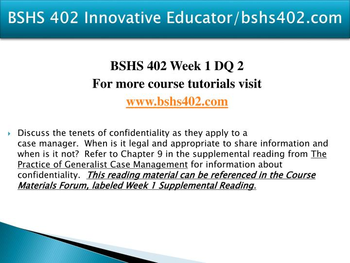 BSHS 402 Innovative Educator/bshs402.com