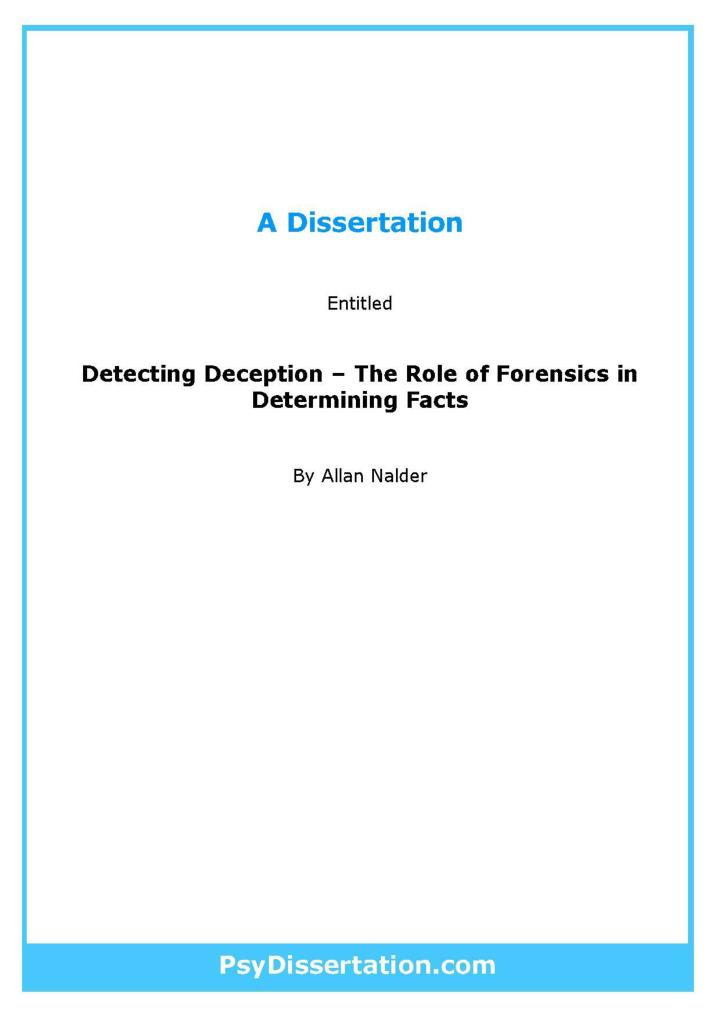 Phd thesis in forensic science