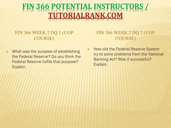 fin 366 week 1 dq 2