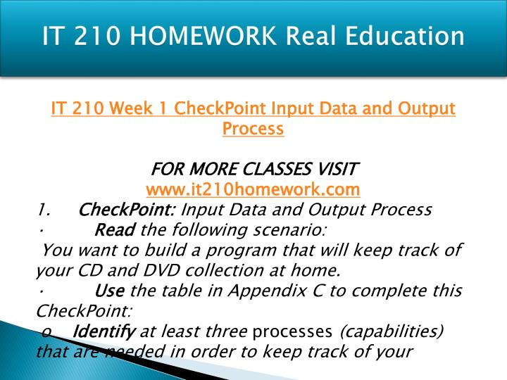 it 210 appendix c input and output process Free essays on input data and output process appendix c for students use our papers to help you with yours 1 - 30.