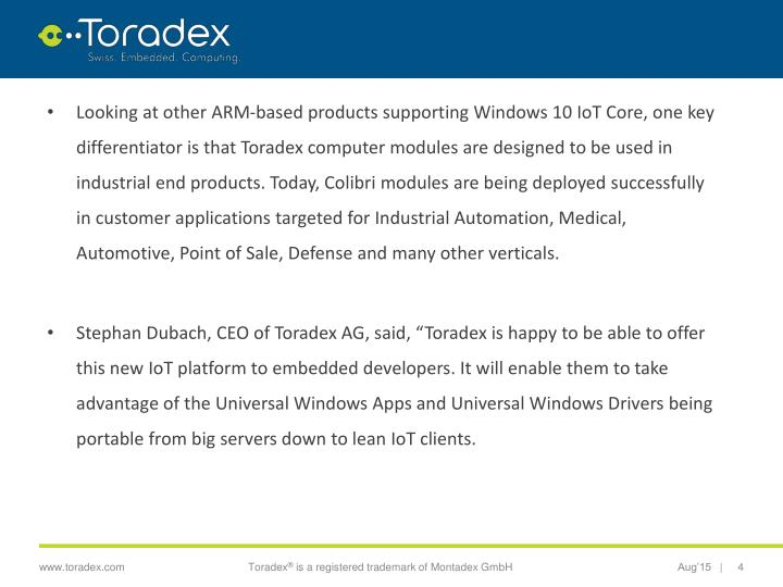 PPT - Toradex Launches a Technical Preview of Windows® 10 IoT Core